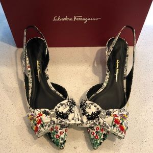 Authentic, gorgeous beaded Ferragamo Heels!